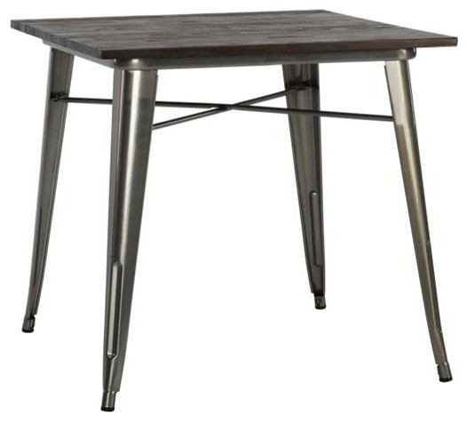 Dhp fusion square dining table antique gun metal for Square industrial dining table