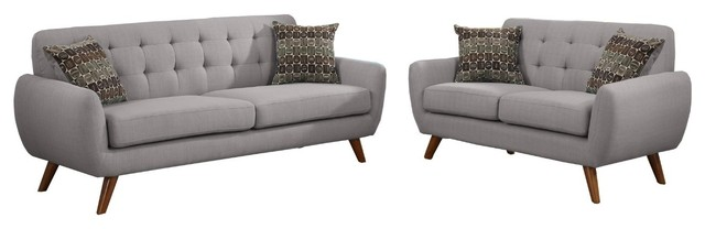 Modern Retro Sectional Sofa, Taupe Gray.