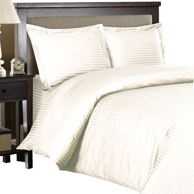 300tc 100 Cotton Striped Duvet Cover Sets Ivory Twin Xl Contemporary
