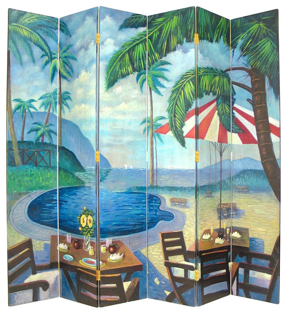 wayborn hand painted 6 panel palm beach room divider dividers