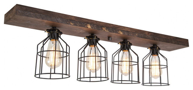 West Ninth Vintage Wood Flush Mount Ceiling Light With Cages