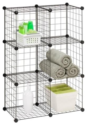 6 Pack Modular Mesh Storage Cube, Black Modern Utility Shelves