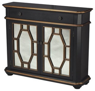 Sterling Cabinet Accent Cabinet, Black and Silver