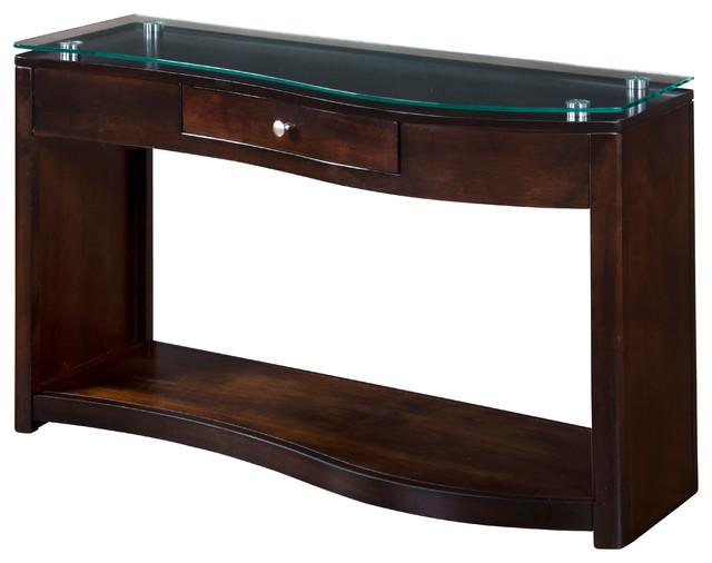 Espresso Glass Top Sofa Table Console Transitional