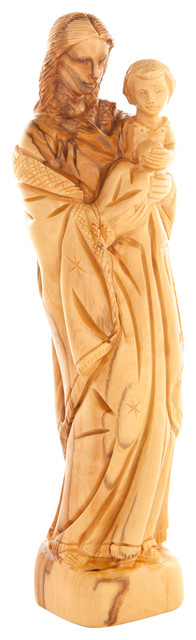 Olive Wood Virgin Mary With The Holy Child.