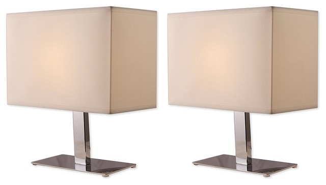 Light Accents Table Lamp Chrome Finish With Off White Shade, Pack Of 2.