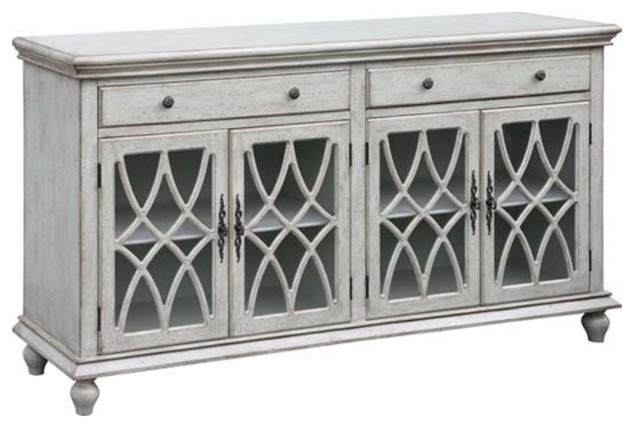 Paxton 2 Drawer/4 Geometric Glass Door Textured Pale Gray ...