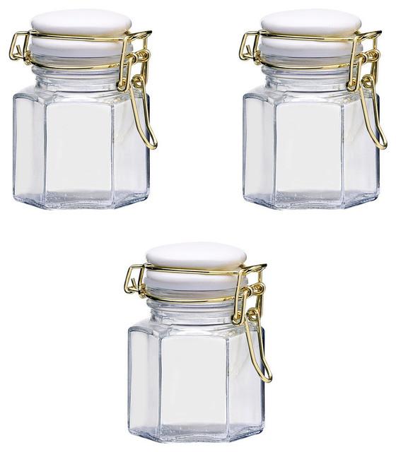 Olivia Spice Jar Gold White Hermetic Preserving, Set Of 3.