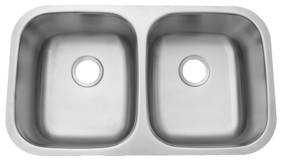 20 Gauge Stainless Steel Undermount Sink 50 50 Double Bowl 6 5 Deep Traditional Kitchen Sinks By Chemcore Industries