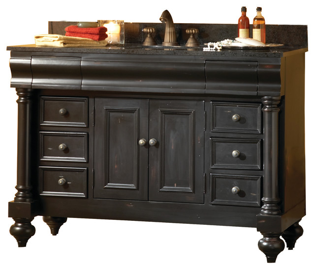 Guild hall 24 vanity distressed black and gold hill - Black distressed bathroom vanity ...