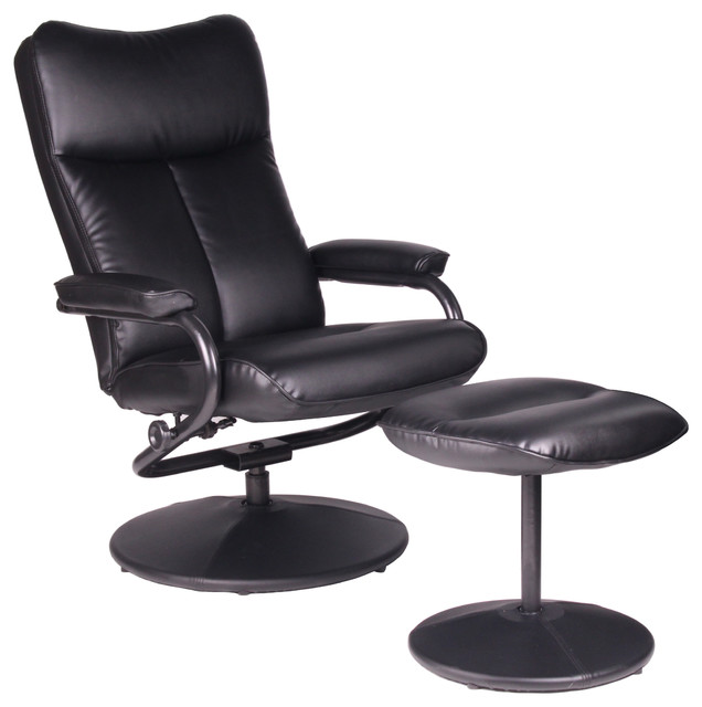 Black Recliner With Ottoman Bonded Leather Extra Padded