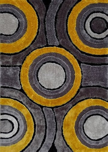 5'x7' Shaggy Yellow With Gray Living Room Area Rugs, Hand-Tufted