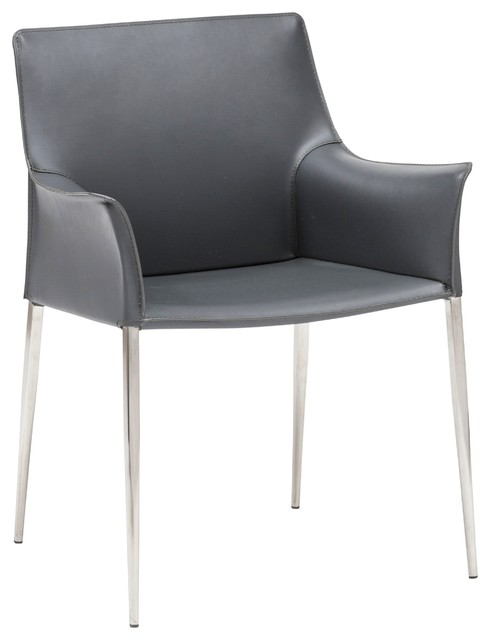 Superb Colter Leather Dining Arm Chair With Steel Legs Darkgray Uwap Interior Chair Design Uwaporg