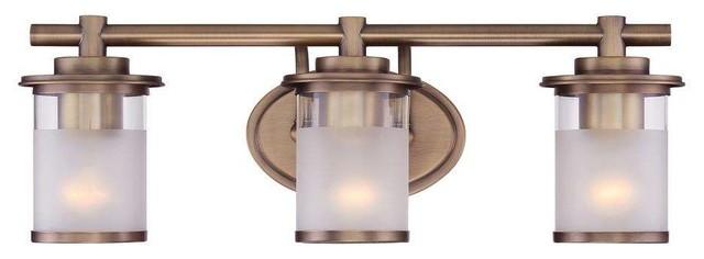 New 3 Light Bathroom Vanity Lighting Fixture Platinum: Essense 3-Light Bathroom Vanity Light, Satin Brass