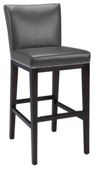 Pembley Leather Stool With Nailhead Trim, Gray, Counter Height.