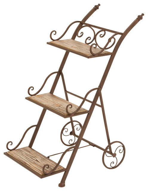 Metal Wood Plant Stand.