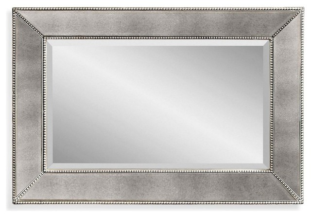 Silver Wall Mirrors beaded wall mirror - transitional - wall mirrors -bassett