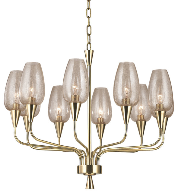 Longmont 10 Light Chandelier in Aged Brass