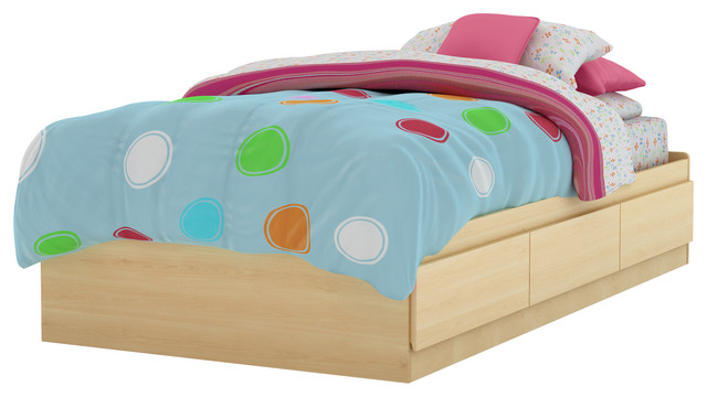 """South Shore Twin Mates Bed, 39"""" With 3 Drawers, Natural Maple."""