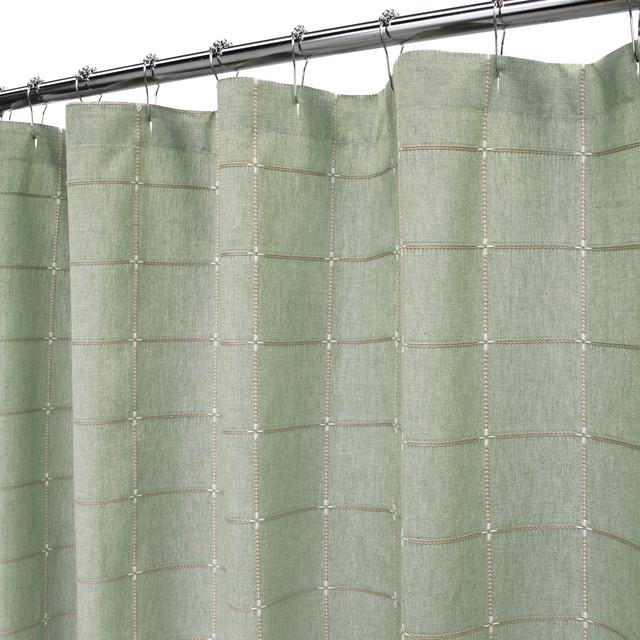 Durham Square Shower Curtain 72 Quot X72 Quot Dark Sage Shower