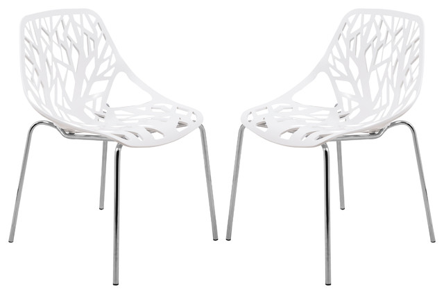 Leisuremod Modern Asbury Dining Chairs With Chromed Legs, Set Of 2, White.