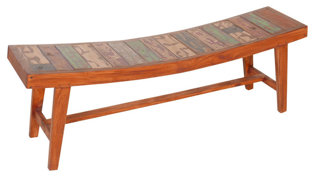 Reclaimed Boat Wood Bench Farmhouse Accent And Storage