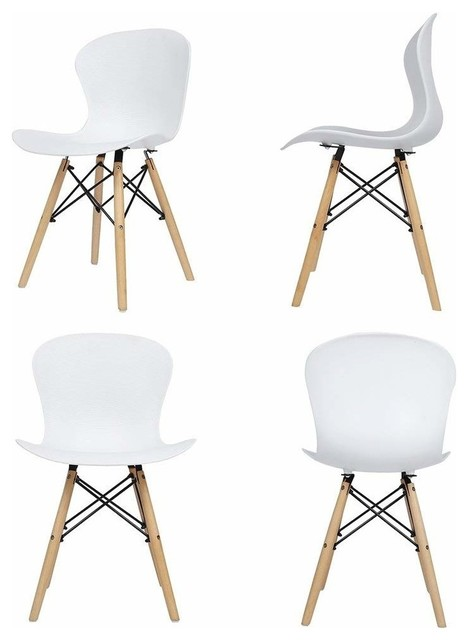 Contemporary Set of 4 Chairs, Plastic Seat, Eiffel Inspired Wooden Legs, White