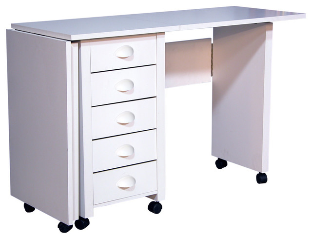 Venture Horizon Mobile Desk Double And Craft Center, White.