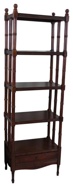 Windsor 5-Tier Bookshelf,brown Stain.