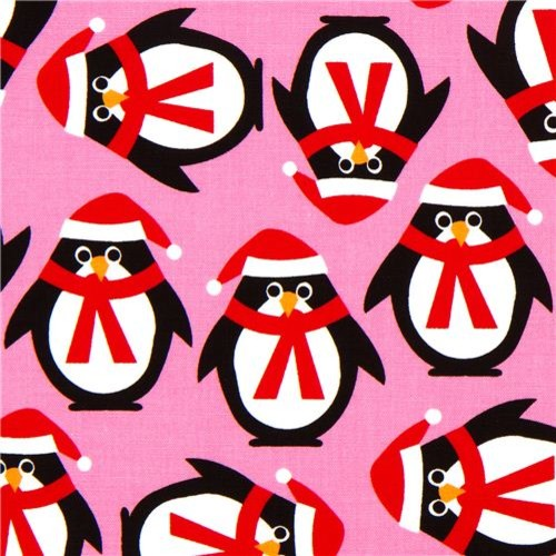 pink Christmas fabric with penguins by Robert Kaufman - Fabric ...