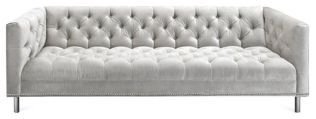 Tufted Belize Sofa In White Velvet