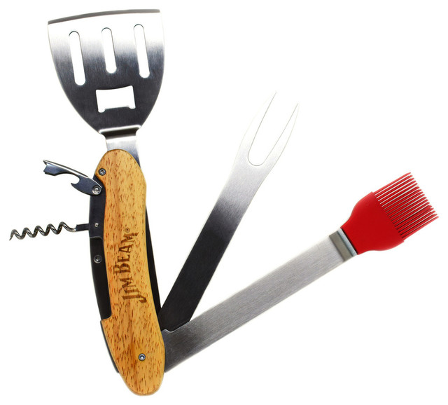 5-In-1 Bbq Grilling Tools With Wood Handles.