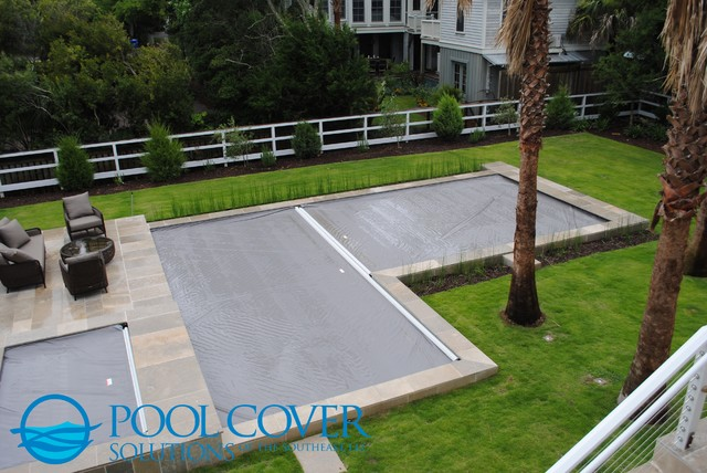 L Shaped Pool With Two Automatic Covers