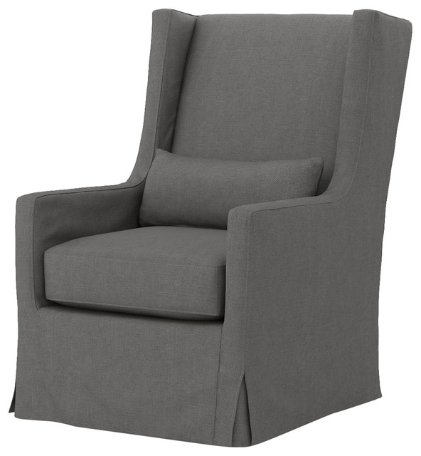 Wilshire Modern Classic Charcoal Swivel Wing Armchair Modern