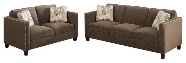Emerald Home Focus Sofa And Loveseat Set Gray, Chocolate.
