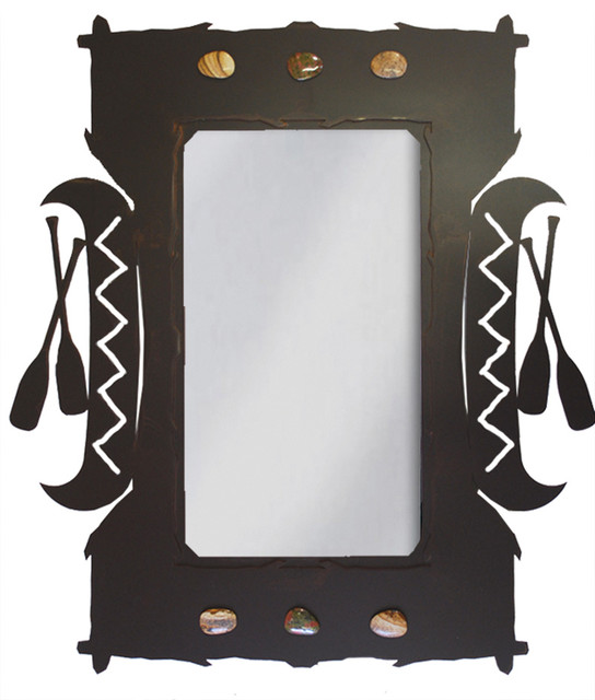Wrought Iron Canoe Amp Paddles Mirror 30 Quot Rustic Wall