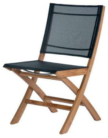 Barlow Tyrie Horizon Teak Folding Side Chair In Textilene Sling Charcoal