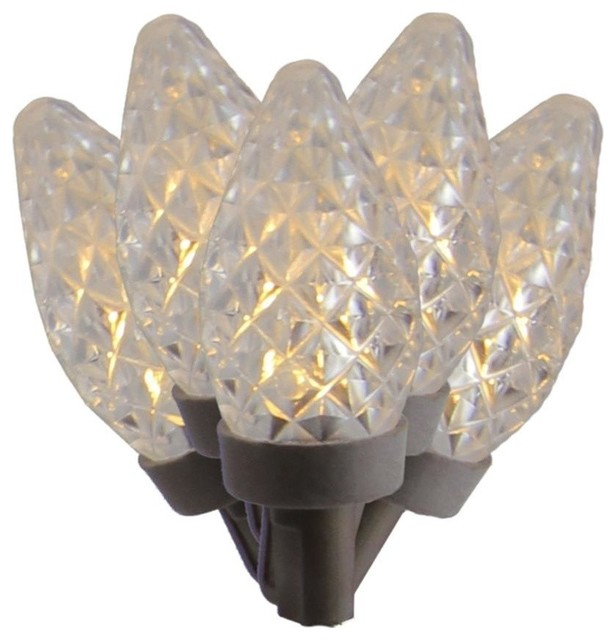 Faceted Candlelight Clear Led C7 Christmas Lights, Brown Wire.