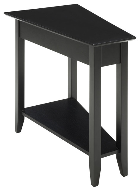 American Heritage Wedge End Table, Black.