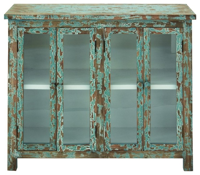 Shop Houzz | Benzara, Woodland Imports, The Urban Port Distressed Wooden Cabinet, Green - Accent ...