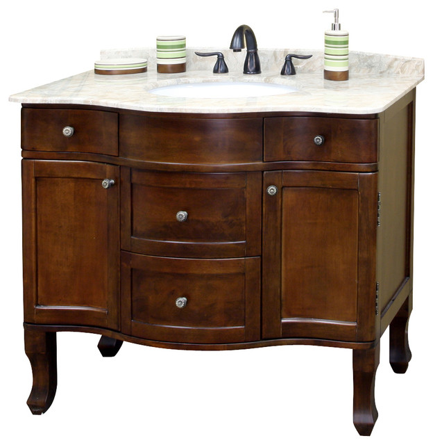 Bellaterra 38.2 Single Sink Bathroom Vanity, Wood-Walnut.