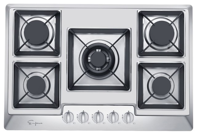 "Stainless Steel 5 Italy Sabaf Burners Stove Top Gas Cooktop, 30""."