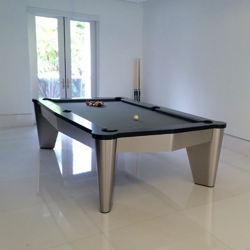Brushed Aluminum EXCALIBUR Pool Table With Black Rail Tops And Steel - Pool table key