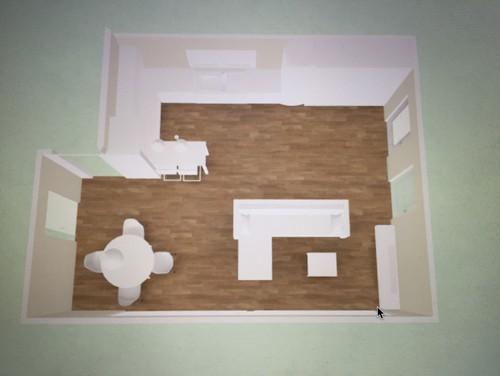 Dazu Eine Große Kochinsel Mit Kochfeld, Spüle Und Theke. In Der Ecke Rechts  Vom Fenster Steht Noch Ein Großer Schrank. Was Meint Ihr?