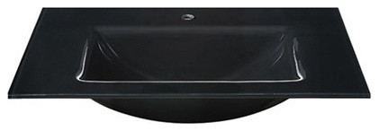 Glass Top, 610mm Black With Rectangular Bowl, Backsplash Not Available.