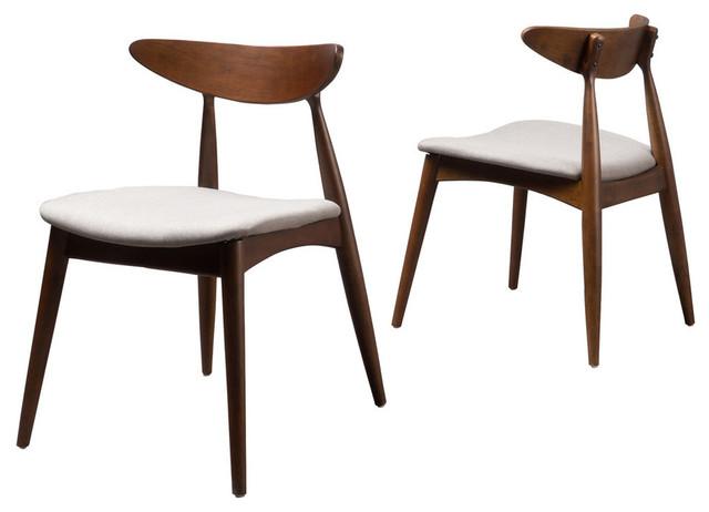 GDF Studio Issaic Design Wood Dining Chairs, Light Gray/Walnut, Set of 2