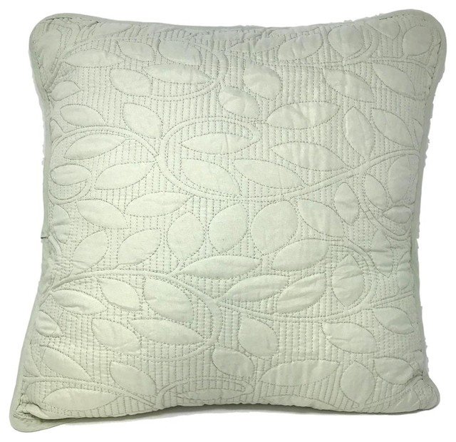 """2 Piece Set Sage Mint Green Sweet Pea Set 18"""" Accent Cushion Covers"""