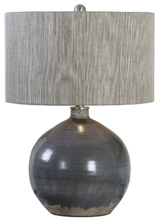 Captivating Elegant Fat Charcoal Gray Brown Table Lamp, Round Sphere Earth Tones    Contemporary   Table Lamps   By My Swanky Home