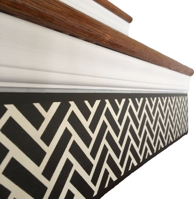 Carved Wood Stair Risers Stair Ideas Stamped Leather: Black And White Decorative Wood Stair Riser Panel