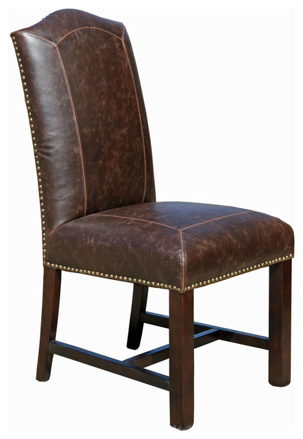 distressed leather dining chair brown